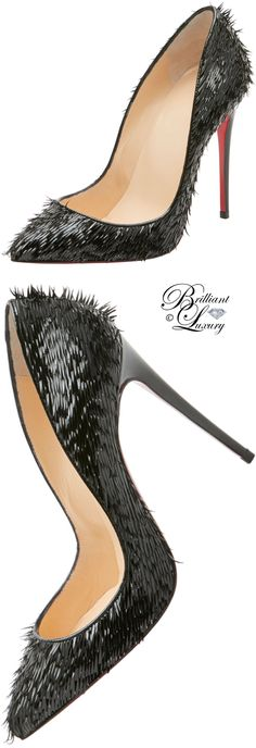 Brilliant Luxury ♦ Christian Louboutin Pigallie Follies Crow Patent Red Sole Pump