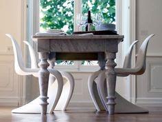 panton charis with turned marble leg table! oooh