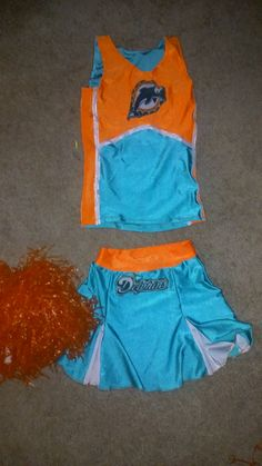 Miami Dolphins or other team by request  champion superstars  halloween costume cheerleading skirt set stripper exotic dancer pom pons by gabriellescostumes on Etsy