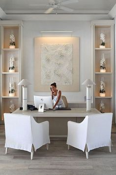 Home Office Design Ideas, Chic Home Office, Skirted Chair, Home Office Decor, Home Office for Women Home Office Inspiration, Interior Design Inspiration, Office Inspo, Style Inspiration, Style Ideas, Home Office Space, Home Office Decor, Modern Office Decor, Professional Office Decor