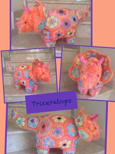 Heidi Bears African Flower Triceratops Www.facebook.com/Hookedonhandicrafts African Flowers, Flower Patterns, Handicraft, Bears, Dinosaur Stuffed Animal, Crafty, Facebook, Pillows, Toys