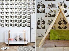 Papeles pintados para habitaciones bebés sobre el tema panda por E-Glue - www.e-glue.fr
