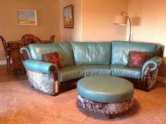 Albuquerque Turquoise Leather Sofa Western Sofas And Loveseats Turquoise Pinterest Leather