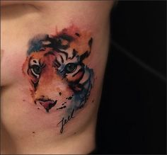 watercolor tiger by Victor Montaghini, Sao Paulo, Brazil   tiger tattoos
