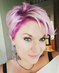 Pixe with Orchid Joico and light purple blend #pixie #Pinkhair #Joico #shadowing