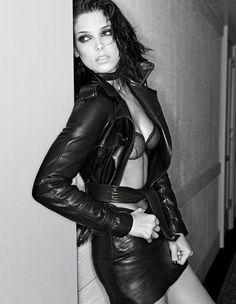 Ashley Greene in leather.