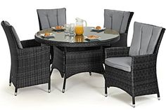 San Diego Rattan Garden Furniture Grey 4 Seater Round Table Set