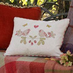 Linen Love Birds Cushion