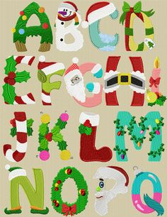 Free Christmas Digital Embroidery Alphabet