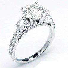 Round Diamond Three Stone Engagement Ring with Micro Pave (1.65 cttw)