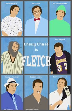 FLETCH Original Poster Art by guiltycubicle on Etsy Good Comedy Movies, Funny Movies, Chevy Chase, Opening Credits, We Movie, Film Posters, Vintage Movies, Design Show, Funny People