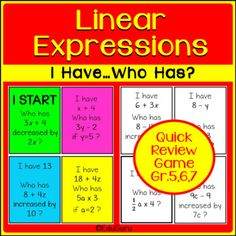 This I Have Who Has Game is a great activity for a quick review of linear expressions. It can be used as a revision or consolidation activity for Grades 5 and 6 or as a recap for grades 7 students. It includes 74 cards (37 color and 37 black and white). Math Activities, Teaching Resources, Secondary Math, Cooperative Learning, Review Games, Fifth Grade, Student Engagement, Elementary Teacher, Fun Games