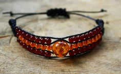 Bracelet Amber and Carnelian handmade 3 strands by TriouZ on Etsy, £14.95
