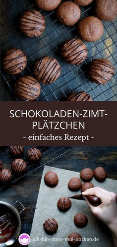 Chocolate Cinnamon Cookies - I WILL BAKE THEN-Schokoladen-Zimt-Plätzchen – ICH BIN DANN MAL BACKEN The perfect start to the pre-Christmas baking season. The chocolate-cinnamon cookies are made quickly and eaten even faster. Chocolate Peanuts, Vegan Chocolate, Chocolate Desserts, Chocolate Chip Cookies, Toffee Cookies, Baking Chocolate, Chocolate Toffee, Cake Chocolate, Cookie Recipes