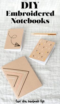 DIY Embroidered Notebooks Dear Handmade Life - handgemachte Bücher - Bookbinding - The Dallas Media Pot Mason Diy, Mason Jar Crafts, Crafts To Sell, Diy And Crafts, Paper Crafts, Diy Paper, Kids Crafts, Kids Diy, Easy Crafts