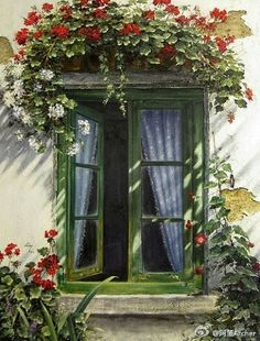 You don't see a window box ABOVE the window very often! But this Geranium Window Box is very pretty! Old Windows, Windows And Doors, Garden Windows, Balcony Garden, Painting Gallery, Window View, Window Art, Through The Window, Window Boxes