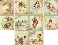 Vintage Inspired Cherub Valentine 2 034 Mini Cards Envelopes Scrapbooking Crafts | eBay