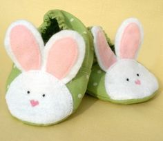 Baby Bunny Slippers This oh so sweet baby bootie will make you smile. (and the ease of the pattern will too!) It is a perfect way adorn little feet in any weather! $4.00 USD Only 1 available Approximately $5.02 SGD