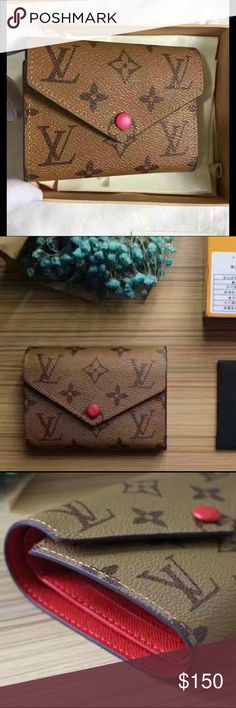 PREORDER NOW Victorine Wallet LV reversed monogram Victorine Wallet with cherry red interior. Comes with box and dustbag. This listing is for pre order only!  How to preorder: Down payment of $25 just to insure no cancellation. Once I receive product you will pay the rest ($100). It will take 1 1/2 weeks to get to me, then 2-3 days to get to you. Total wait time: 2 weeks. I will be sending Wallet through poshmark Accessories