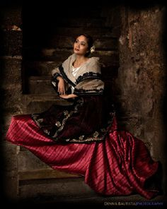 Baro't Saya - Maria Clara dress. The Baro't Saya is a traditional Filipino blouse and skirt for women.