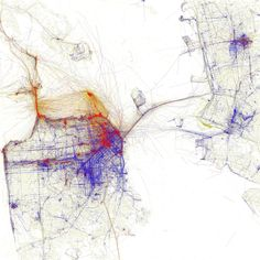 A visual representation of where pictures are taken in San Francisco as tourists and locals. Source: Eric Fischer (flickr)