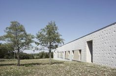 Completed in 2015 in Dommartin-lès-Toul, France. Images by Mayanna von Ledebur. Concrete parallelepiped with walls softened by the work of an artist, the Epilepsy residential care home of Dommartin-lès-Toul (Meurthe-et-Moselle). Architecture Board, Architecture Design, Parks, Concrete Building, Concrete Walls, Concrete Projects, Earth Homes, Building Structure, Gallery