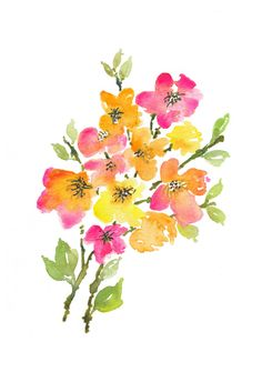 """""""Floral 2"""" An abstract apple blossom, autumn hued abstract floral watercolour by Asara Design."""