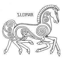 Sleipnir pattern by Ari-Usni on deviantART embroidery Costume Viking, Viking Garb, Viking Reenactment, Viking Designs, Celtic Designs, Viking Embroidery, Embroidery Patterns, Viking Pattern, Celtic Patterns