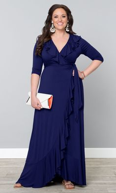 Our plus size Maritime Maxi Dress is all about easy style. This fully functional wrap dress will flatter every curve and the feminine flounces along the neckline and hem give all the detailing you need. www.kiyonna.com #KiyonnaPlusYou #Plussize #MadeintheUSA #Kiyonna
