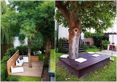 Remarkable Ideas to Decorate An Outdoor Tree Build A Wooden Platform Or A Bench Exterior Ideas