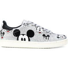 Moa Master Of Arts cartoon print sneakers ($180) ❤ liked on Polyvore featuring shoes, sneakers, grey, comic shoes, gray sneakers, gray shoes, leather shoes and metallic grey shoes