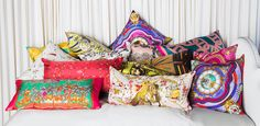 Modern Luxury Home Decor and Accents: Vintage Hermes Silk Scarf Pillows