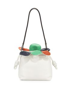 Flamenco Small Petal Bag, White Multi, Size: S - Loewe