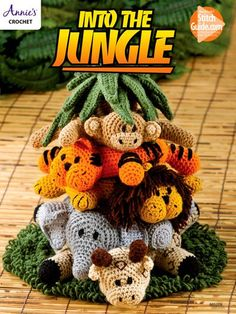These ring-shaped animals cleverly fit in graduated sizes on a cone-shaped jungle tree. Each one can be removed from the tree to toss or play with. All designs are made using medium-weight yarn.