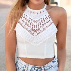 ⭐️NEW | Cross Strap Crochet Crop Tank High neck crochet crop tank top with beautiful detailing on the chest and a criss cross backing. BRAND NEW, FAST SHIPPING! Tops Crop Tops