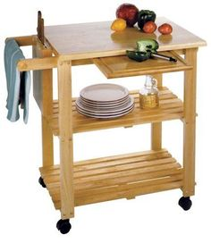 Kitchen Prep Table Cart Rolling Wood Storage Shelves Butcher Block Cutting Board #Winsome