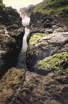 Vista de cima do Devil's Churn (a Espuma do Diabo), em Cape Perpetua, costa central do estado do Oregon, USA. Fotografia: Joe Mabel.