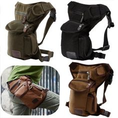 Outdoor Canvas Drop Waist Leg Bags Waist Pack Bag Running Belt Bicycle and Motorcycle For Men