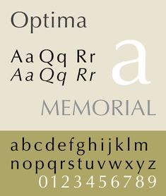 Optima is a humanist, sans-serif typeface designed by Hermann Zapf between 1952 and 1955 for the D. Stempel AG foundry, Frankfurt, Germany.