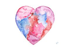 Heart Watercolor Painting Abstract Heart Painting Rainbow Heart Watercolor Heart Rainbow Watercolor Red Pink Purple Blue Giclee Print Modern...