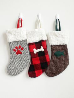 Personalized Christmas Stockings | Faux Fur & Gray Herringbone Pet ...