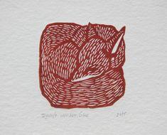 Small blue or red fox linoprint by DymphArt on Etsy Graphic Prints, Art Prints, Blue Prints, Lino Art, Wie Zeichnet Man Manga, Illustrations, Illustration Art, Linoprint, Tampons