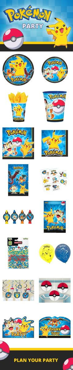 Pokémon party supplies will help make your birthday party extra fun! You'll be able to catch tableware, favors, decorations, and much more in our full line. Visit us today to collect them for your birthday party: http://www.discountpartysupplies.com/boy-party-supplies/pokemon-party-supplies?utm_source=Pinterest&utm_medium=Social&utm_content=pinterest_theme_board&utm_campaign=pokemon_Promoted_Pin