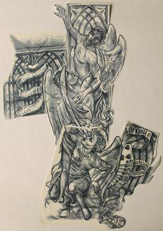 右腕 タトゥー Michael Scofield, Chest And Back Tattoo, Broken Tattoo, Angel Sketch, St Micheal, Criminal Tattoo, Crown Drawing, Prison Art, Religion Tattoos