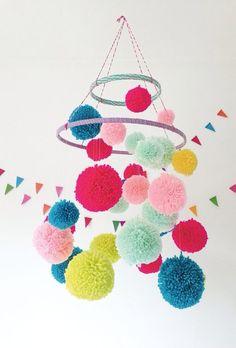 漂亮的彩色毛球家居装饰