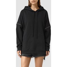 AllSaints Graded Lo Hoody (£160) ❤ liked on Polyvore featuring tops, hoodies, black, zip hoodie, zip top, hooded zipper sweatshirts, zipper hoodies and zip hoodies