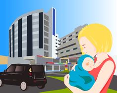 Mother and child outside a hospital Mother And Child, Vectors, The Outsiders, Children, Projects, Fun, Mother Son, Young Children, Log Projects