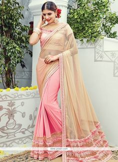 Arresting Peach And Pink Embroidered Work Lycra Classic Designer Saree Model: YOSAR8507