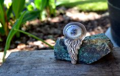 Jellyfish Ring. Dendritic Opal. Sterling Silver and by Arrok