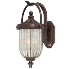 The Great Outdoors exterior light 9302-171 in bronze with silver glass light shade